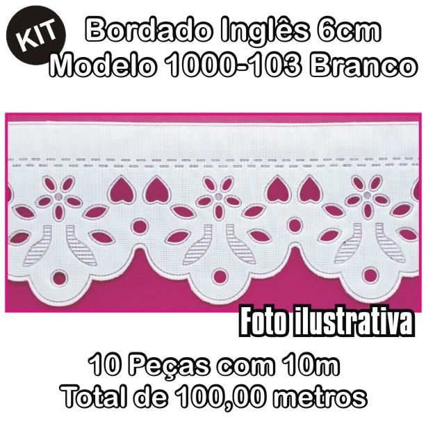 Bordado Inglês 6cm X 10m KIT 10unid Branco 1000-103  - Baby Sonic Aviamentos