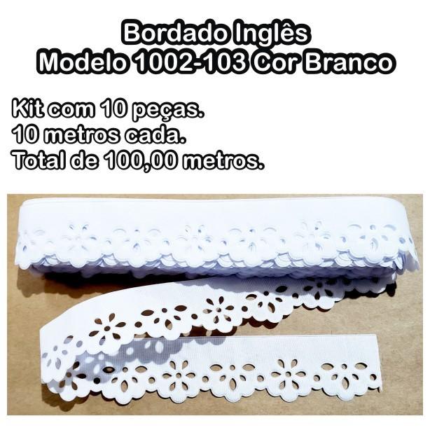 1002 Bordado Inglês 3,2cm X 10m KIT c/10un Branco PAM  - Baby Sonic Aviamentos