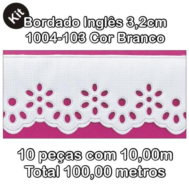1004 Bordado Inglês 3,2cm X 10m KIT c/10un Branco PAM  - Baby Sonic Aviamentos