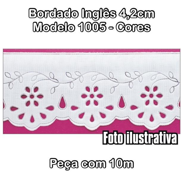 1005 Bordado Inglês 4,2cm X 10m - Cores  - Baby Sonic Aviamentos