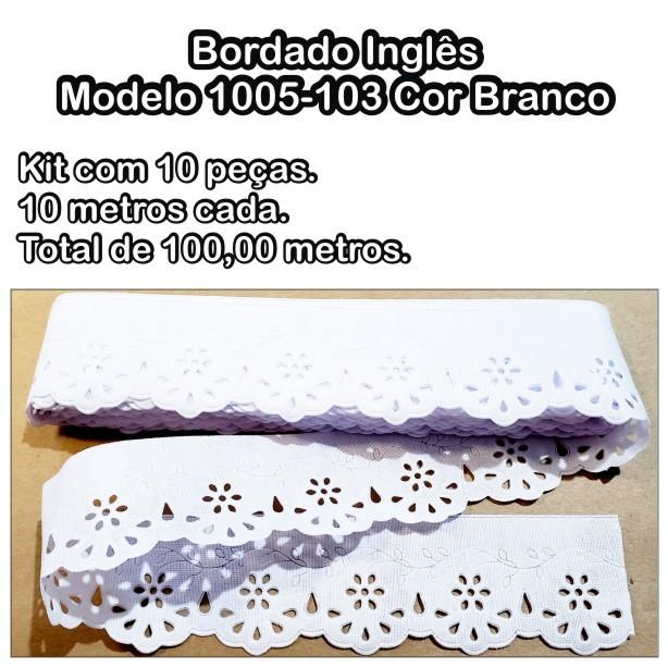 1005 Bordado Inglês 4,2cm X 10m KIT c/10un Branco PAM  - Baby Sonic Aviamentos