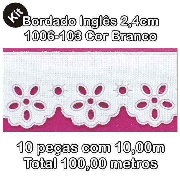 1006 Bordado Inglês 2,4cm X 10m KIT c/10un Branco PAM  - Baby Sonic Aviamentos