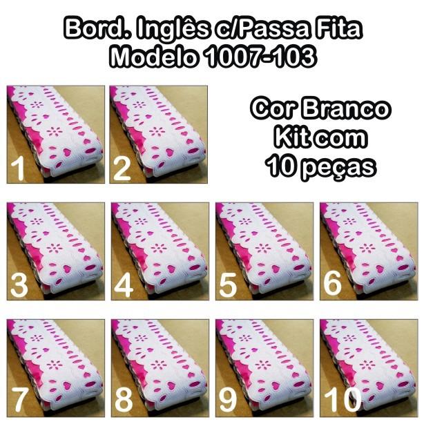 1007 Bord. Inglês e Passa Fita 4,2cm X 10m KIT c/10un Branco PAM  - Baby Sonic Aviamentos