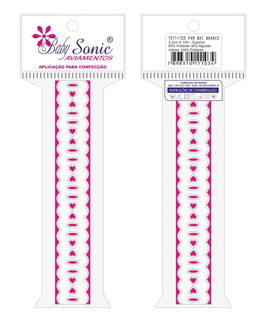 1011 Passa Fita 2,3cm X 10m KIT c/10un Branco PAM  - Baby Sonic Aviamentos