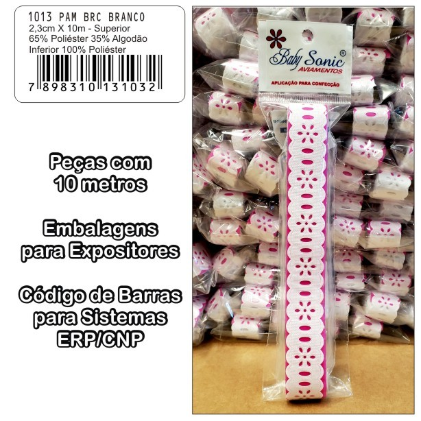 1013 Passa Fita 2,3cm X 10m KIT c/10un Branco PAM  - Baby Sonic Aviamentos