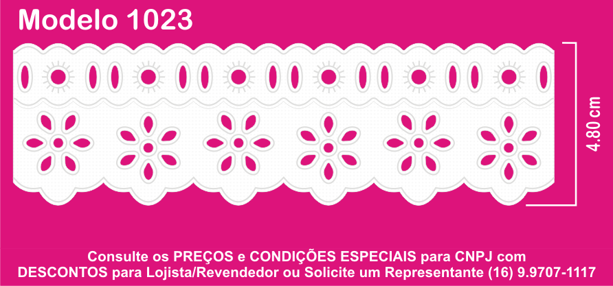 1023 Bord. Inglês c/P.F. 4,8cm X 10m