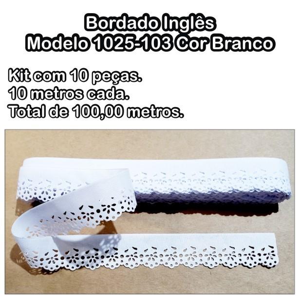 1025 Bordado Inglês 2,4cm X 10m KIT c/10un Branco PAM  - Baby Sonic Aviamentos