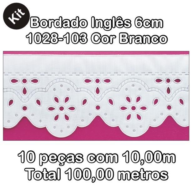 1028 Bordado Inglês 6cm X 10m KIT c/10un Branco PAM  - Baby Sonic Aviamentos