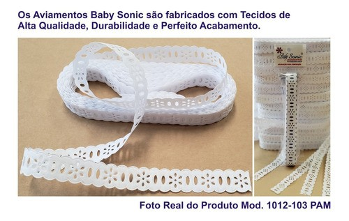1036 Bordado Inglês 2,1cm X 10m KIT c/10un Branco PAM  - Baby Sonic Aviamentos