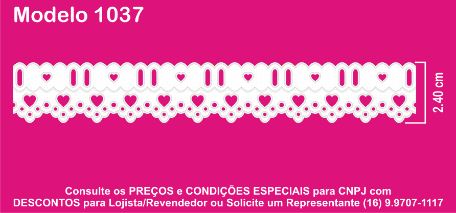 1037 Bord. Inglês c/Passa Fita 2,4cm X 10m KIT c/10un Branco PAM