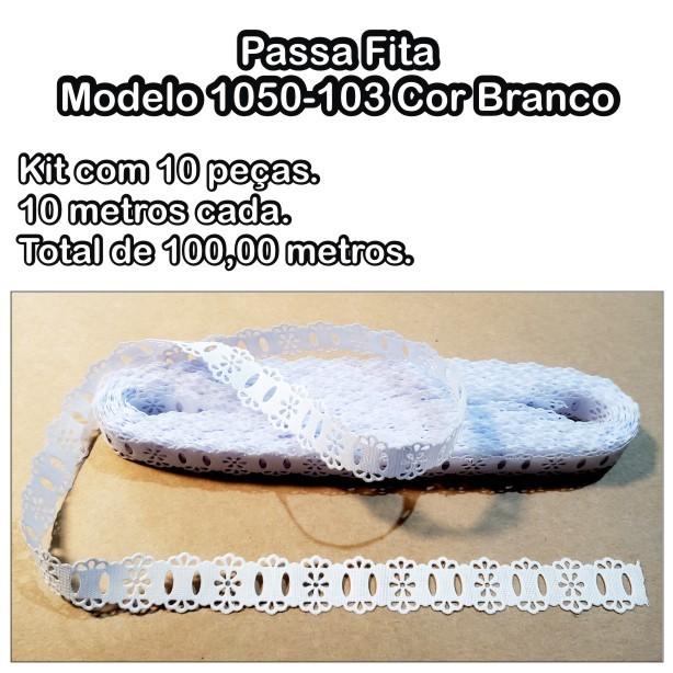 1050 Passa Fita 1,8cm X 10m KIT c/10un Branco PAM  - Baby Sonic Aviamentos