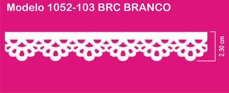 1052-103 PAB Bordado Sonic 2,30cm X 10m c/10un BRANCO  - Baby Sonic Aviamentos