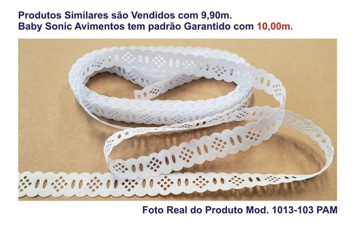 1053-103 Bordado Inglês 2,7cm X 10m KIT c/10un Branco PAB  - Baby Sonic Aviamentos