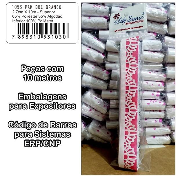 1053 Bordado Inglês 2,7cm X 10m KIT c/10un Branco PAB  - Baby Sonic Aviamentos