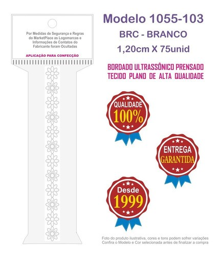 1055-103 Aplic Entremeio 1,2cm X 75un c/10un Branco PAB  - Baby Sonic Aviamentos