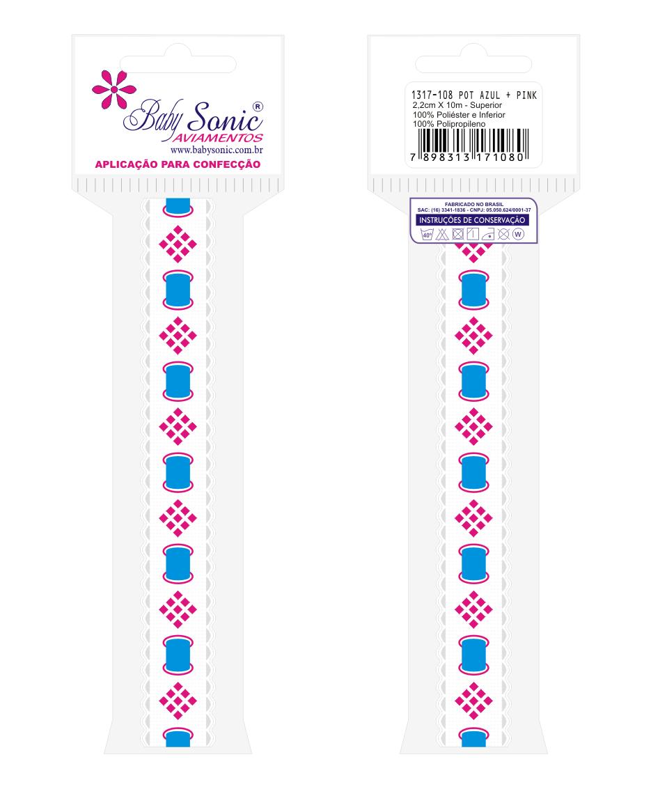 1317 POT Passa Fita Sonic c/Impres. 2,20cm X 10m  - Baby Sonic Aviamentos