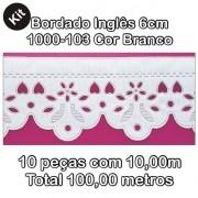 1000 Bordado Inglês 6cm X 10m KIT c/10un Branco PAM