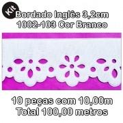 1002 Bordado Inglês 3,2cm X 10m KIT c/10un Branco PAM