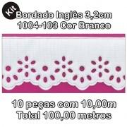 1004 Bordado Inglês 3,2cm X 10m KIT c/10un Branco PAM