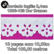 1006 Bordado Inglês 2,4cm X 10m KIT c/10un Branco PAM