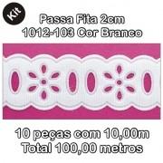 1012 Passa Fita 2cm X 10m KIT c/10un Branco PAM
