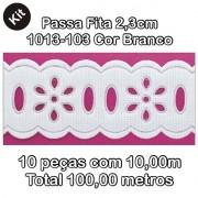 1013 Passa Fita 2,3cm X 10m KIT c/10un Branco PAM