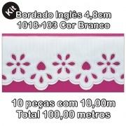 1018 Bordado Inglês 4,8cm X 10m KIT c/10un Branco PAM