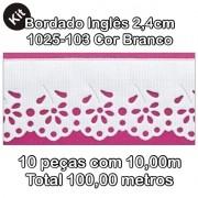 1025 Bordado Inglês 2,4cm X 10m KIT c/10un Branco PAM