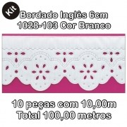 1028 Bordado Inglês 6cm X 10m KIT c/10un Branco PAM