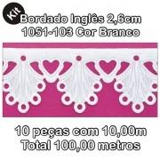 Bordado Inglês 2,6cm X 10m KIT 10unid Branco 1051-103