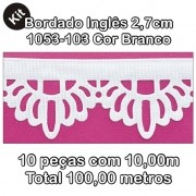 1053 Bordado Inglês 2,7cm X 10m KIT c/10un Branco PAB