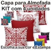 Capa de Almofada Kit 4 Peças 40cm X 40cm Diversas Cores e Estampas