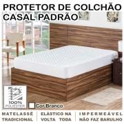 Capa de Colchão Protetor Impermeável Microfibra Casal Padrão Branco