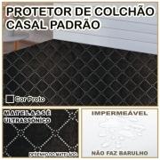 Capa de Colchão Protetor Impermeável Microfibra Casal Padrão Preto