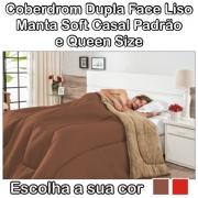 Coberdrom Casal Padrão e Queen Size Dupla Face Manta Soft e Tecido Liso Cores