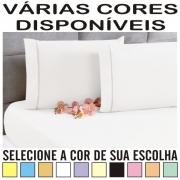 Lençol Casal Padrão Com Elástico + 2 Fronhas Ponto Palito Percal 100% Algodão - DIVERSAS CORES