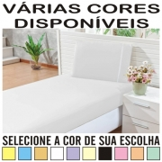 Lençol Solteiro Padrão Com Elástico + Fronha Ponto Palito Percal 100% Algodão - DIVERSAS CORES