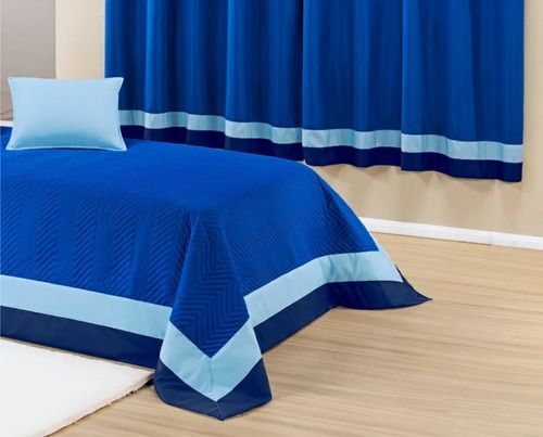 Kit Cobre Leito Stylo Azul Solteiro 6 Peças + Cortina 2 Mt  - Baby Sonic Aviamentos