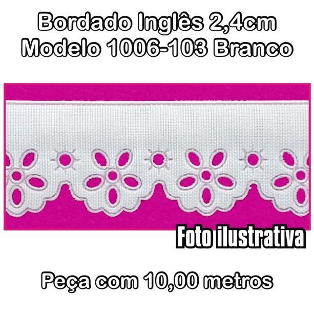 Bordado Inglês 2,4cm X 10m Branco 1006-103  - Baby Sonic Aviamentos