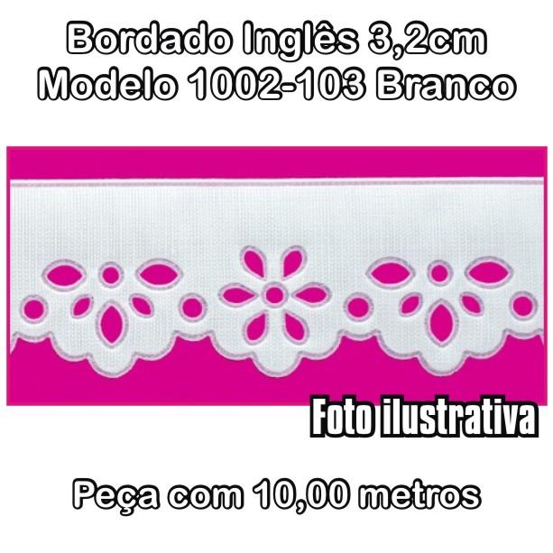 Bordado Inglês 3,2cm X 10m Branco 1002-103  - Baby Sonic Aviamentos