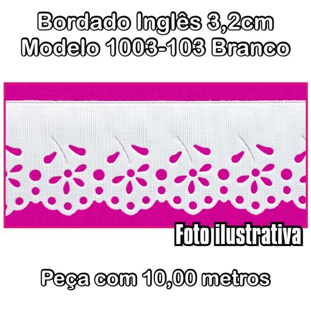 Bordado Inglês 3,2cm X 10m Branco 1003-103  - Baby Sonic Aviamentos