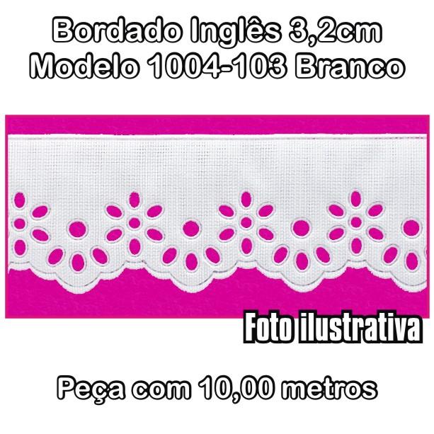 Bordado Inglês 3,2cm X 10m Branco 1004-103  - Baby Sonic Aviamentos