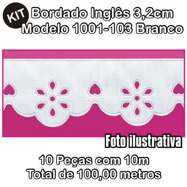 Bordado Inglês 3,2cm X 10m KIT 10unid Branco 1001-103  - Baby Sonic Aviamentos