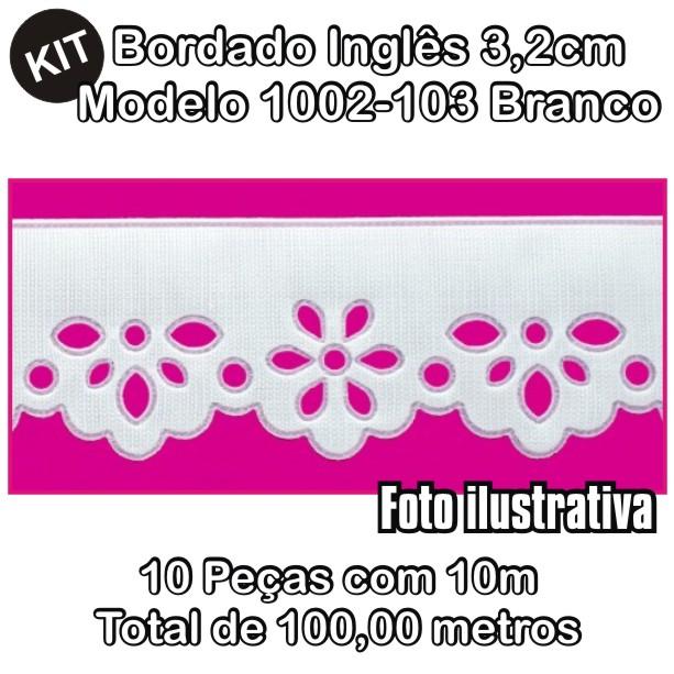 Bordado Inglês 3,2cm X 10m KIT 10unid Branco 1002-103  - Baby Sonic Aviamentos