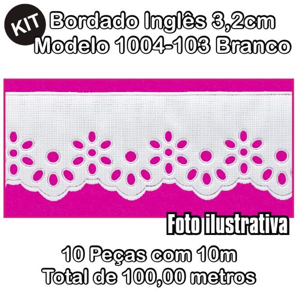 Bordado Inglês 3,2cm X 10m KIT 10unid Branco 1004-103  - Baby Sonic Aviamentos