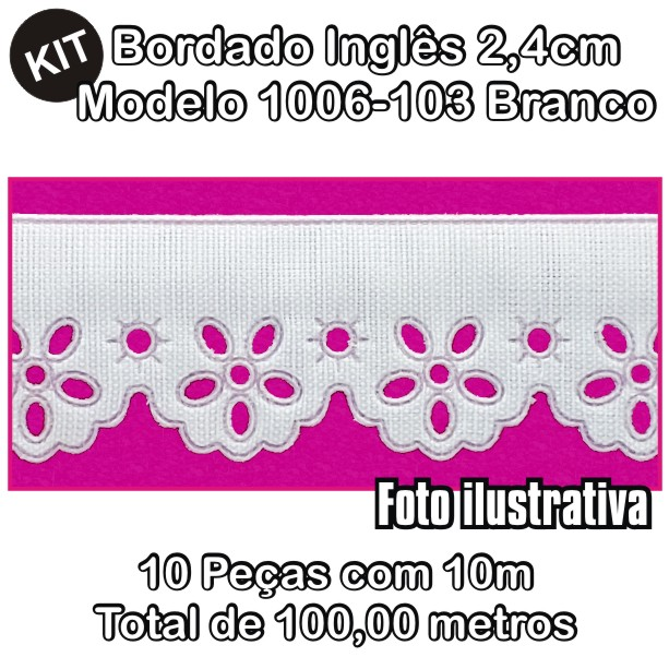 Bordado Inglês 3,2cm X 10m KIT 10unid Branco 1006-103  - Baby Sonic Aviamentos