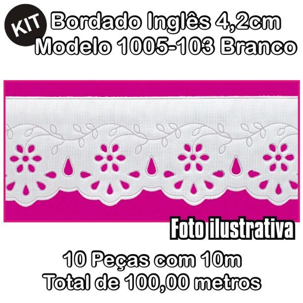 Bordado Inglês 4,2cm X 10m KIT 10unid Branco 1005-103  - Baby Sonic Aviamentos