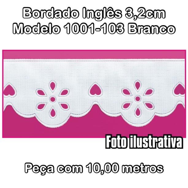 Bordado Inglês 3,2cm X 10m Branco 1001-103  - Baby Sonic Aviamentos