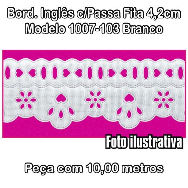 Bordado Inglês com Passa Fita 4,2cm X 10m Branco 1007-103  - Baby Sonic Aviamentos