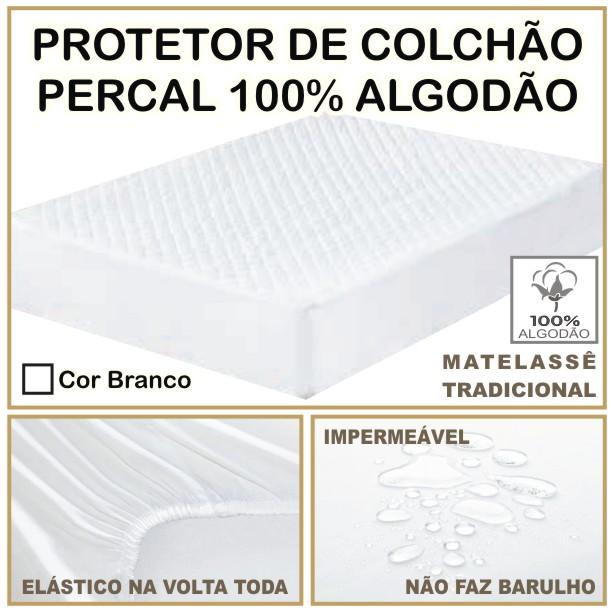Capa de Colchão Protetor Impermeável 100% Algodão Casal Padrão Branco  - Baby Sonic Aviamentos